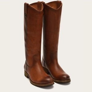 Frye Melissa Button Leather Boots Brown 6.5 w/box